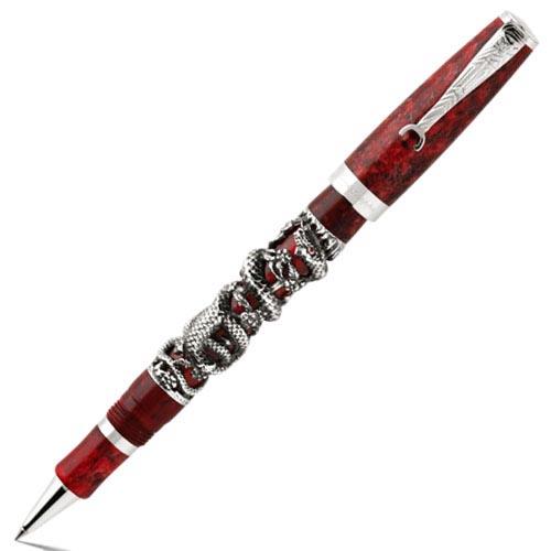 Коллекционная роллеровая ручка Montegrappa Snake со змеями из серебра, фото