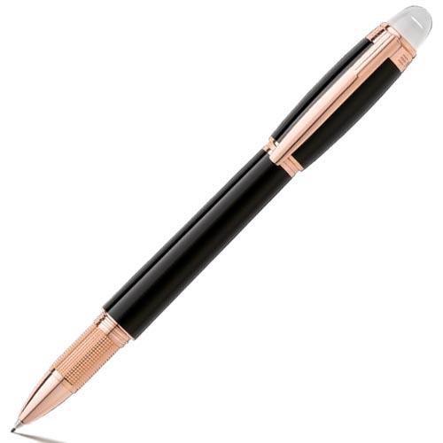 Ручка MontBlanc Starwalker Red Gold Resin черного цвета с гильошированным конусом, фото