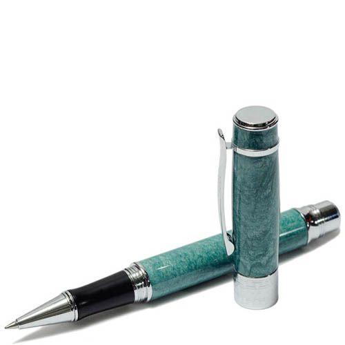 Ручка роллер Duke с отделкой под мрамор бирюзового цвета, фото