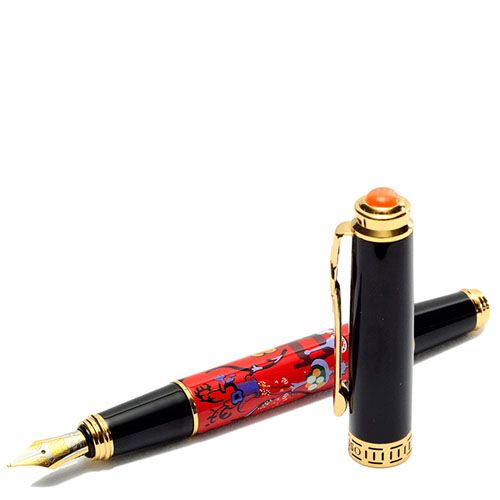 Перьевая ручка Picasso 978 черного цвета украшенная картиной на корпусе, фото