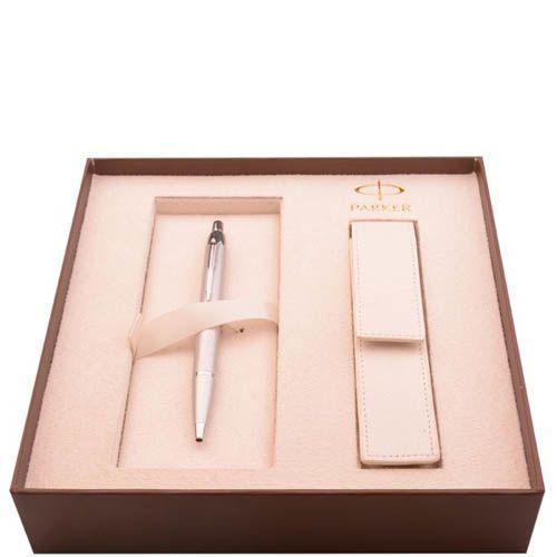 Ручка шариковая Parker Silver CT с чехлом