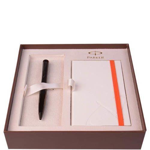 Набор Parker шариковая ручка и блокнот Premium Matt Black