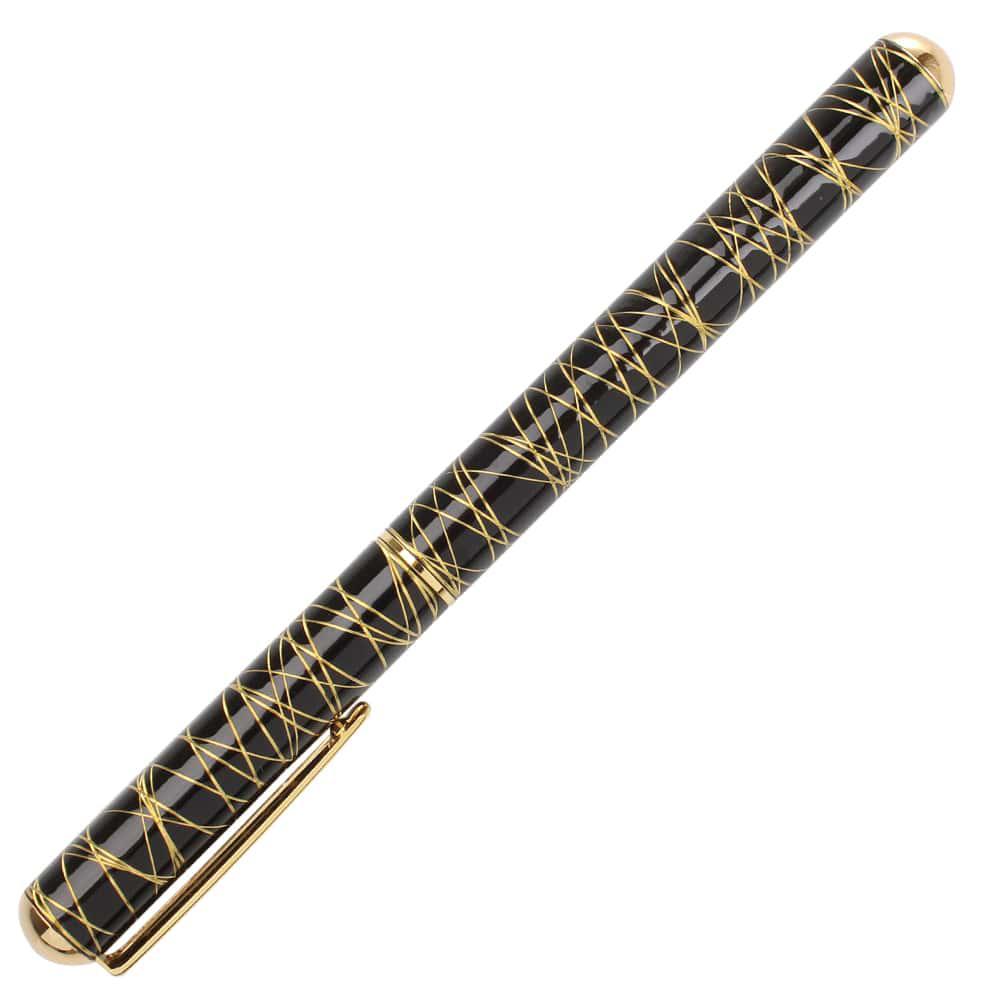 Черная перьевая ручка Ungaro Braccialetto с тонкими золотистыми полосками