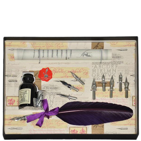 Письменный набор La Kaligrafica фиолетового цвета с восьмью сменными перьями