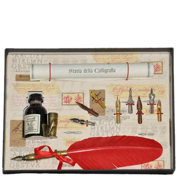 Письменный набор La Kaligrafica красного цвета с восьмью сменными перьями