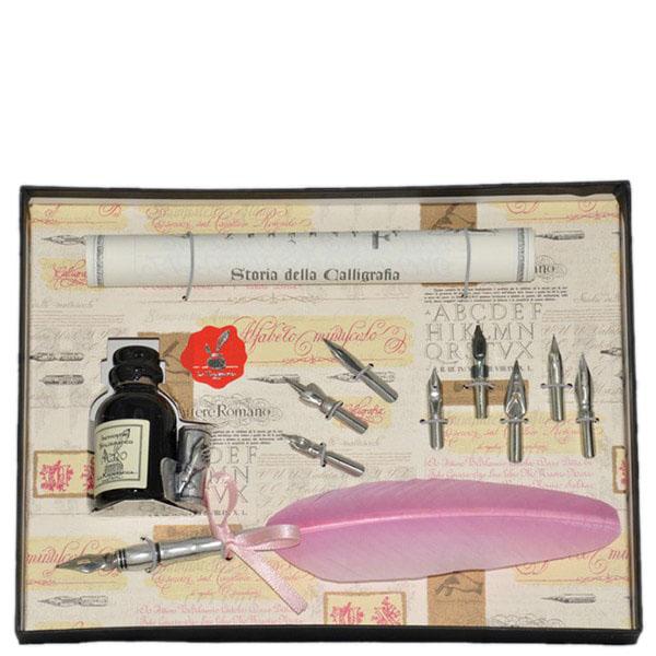 Письменный набор с восьмью сменными перьями La Kaligrafica розового цвета