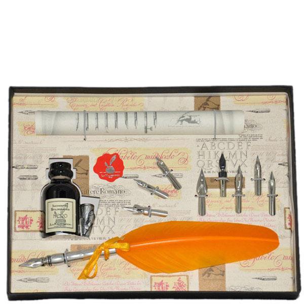 Письменный набор La Kaligrafica желтого цвета с восьмью сменными перьями