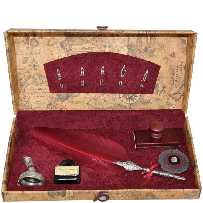 Письменный набор Dallaiti бордового цвета с пятью сменными перьями