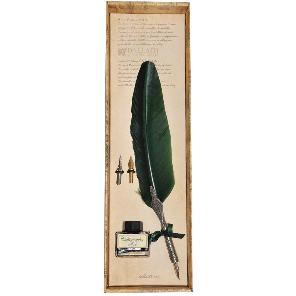 Письменный набор Dallaiti коричневого цвета с двумя сменными перьями