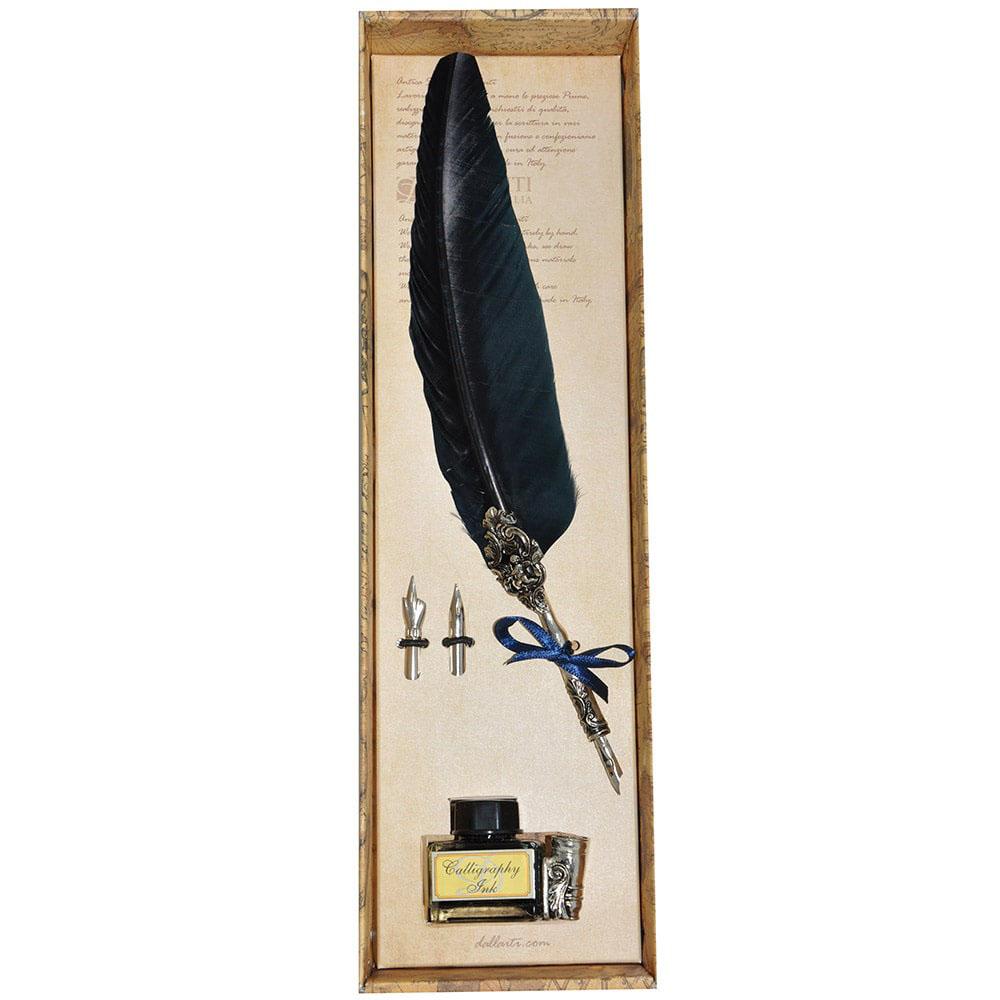 Письменный набор с двумя сменными перьями Dallaiti синего цвета