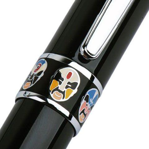 Ручка-роллер Duke 805 черного цвета с изображением маски Пекинской оперы