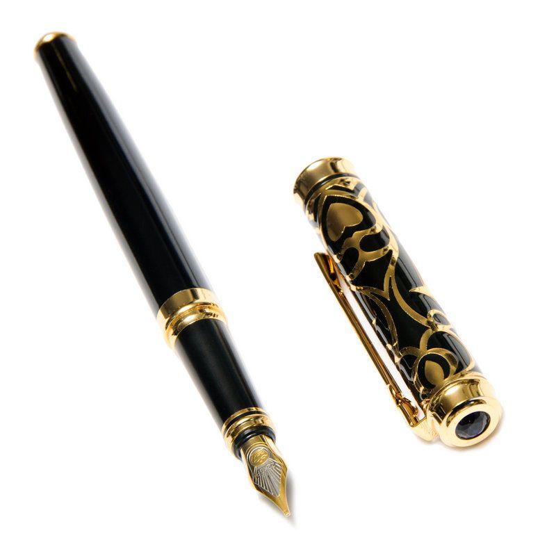 Перьевая ручка Duke черного цвета в золотистых узорах