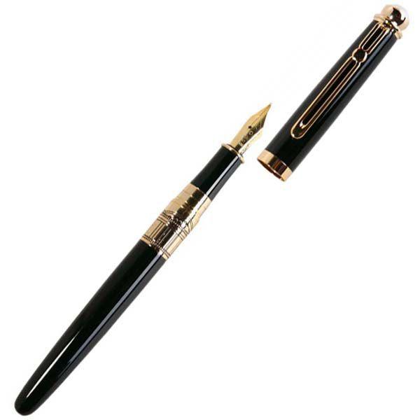 Перьевая ручка William Lloyd золотисто-черная в деревянном лаковом футляре