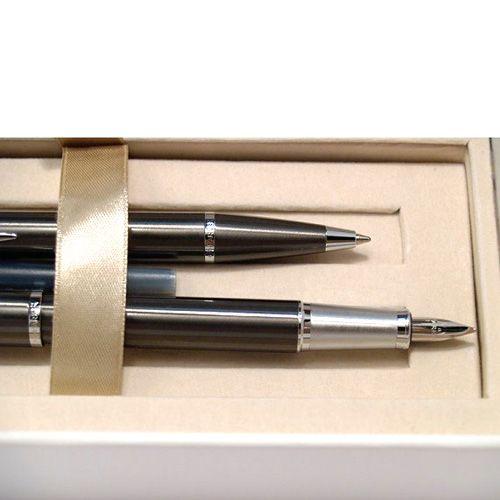 Подарочный набор из перьевой и шариковой ручек Parker IM Gun Metal CT, фото