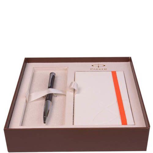 Набор Parker шариковая ручка с блокнотом Premium Ebony Metal Chiselled, фото