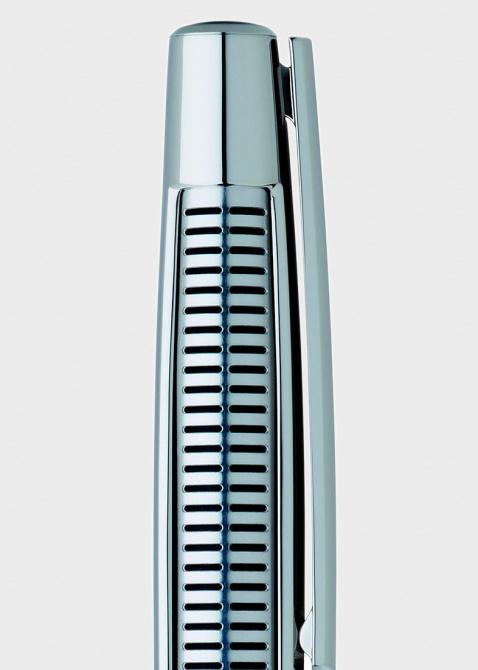 Шариковая ручка S.T. Dupont Defi Perfor с декором-решеткой из стали и палладия, фото