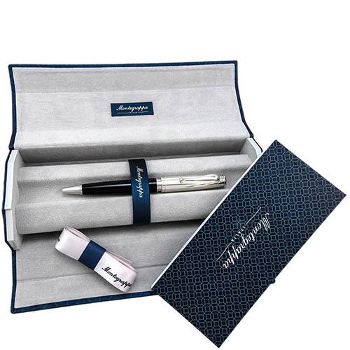 Шариковая черная ручка Montegrappa Memoria с серебром, фото