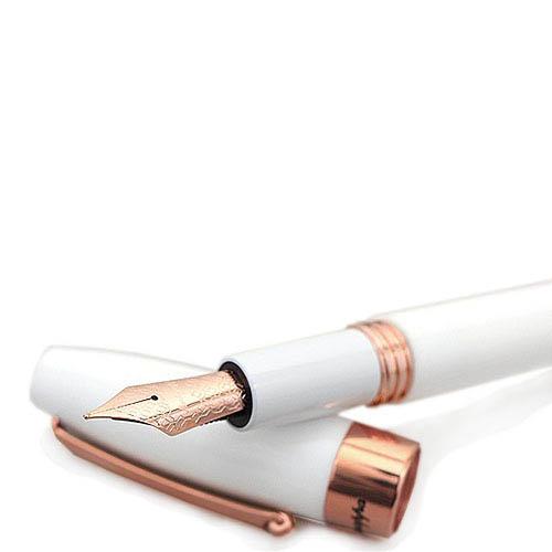 Белая перьевая ручка Montegrappa Fortuna с розовой позолотой, фото