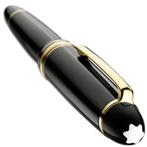Черная перьевая ручка MontBlanc Meisterstuck Le Grand с золотым пером, фото