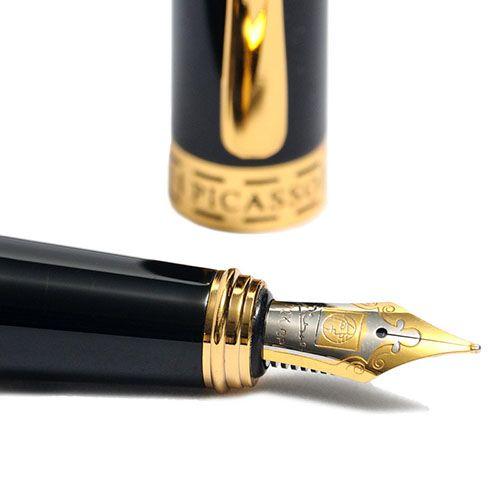 Перьевая ручка Picasso 978 с камнем оранжевого цвета на торце колпачка, фото