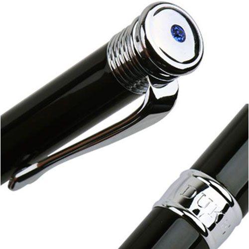 Ручка-роллер Duke LiLu с корпусом черного цвета и хромированной отделкой, фото