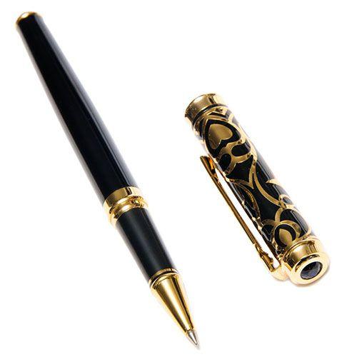 Ручка-роллер Duke черного цвета с позолотой, фото