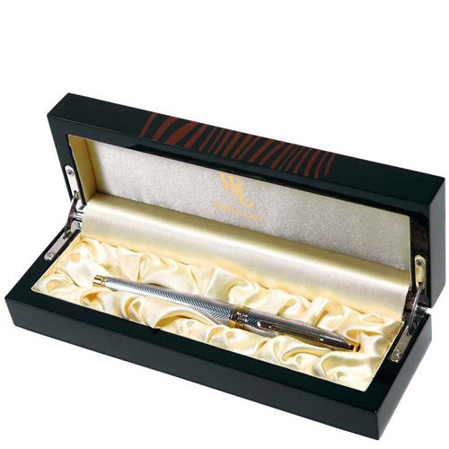 Ручка-роллер William Lloyd золотисто-серебристая в деревянном лаковом футляре, фото