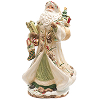 Статуэтка Palais Royal Дед Мороз с подарками декорированный шишками, фото
