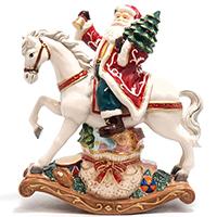 Музыкальная статуэтка Palais Royal Дед Мороз с подарками на коне, фото