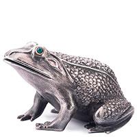 Серебряная фигура Оникс ручной работы Лягушка, фото