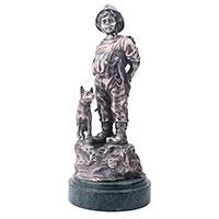 Серебряная фигура Оникс ручной работы Мальчик с собакой, фото