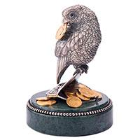Серебряная фигура Оникс Попугай на кошельке с монетами, фото