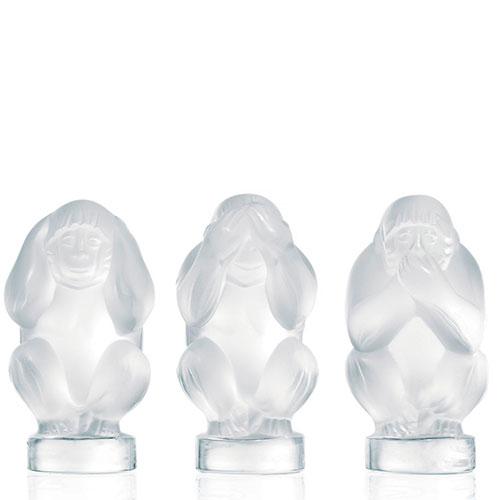 Набор из 3-х обезьянок Lalique прозрачный, фото