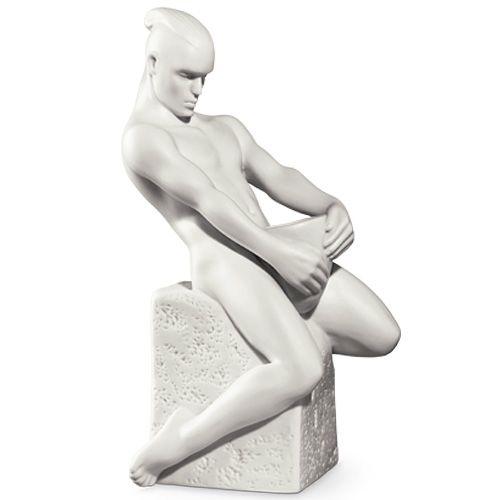 Мужская фигурка Royal Copenhagen Christel Zodiac Водолей фарфоровая белая, фото