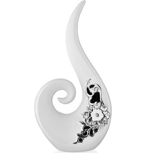 Декор Eterna 35 см керамический белый глянцевый с серебристыми деталями, фото