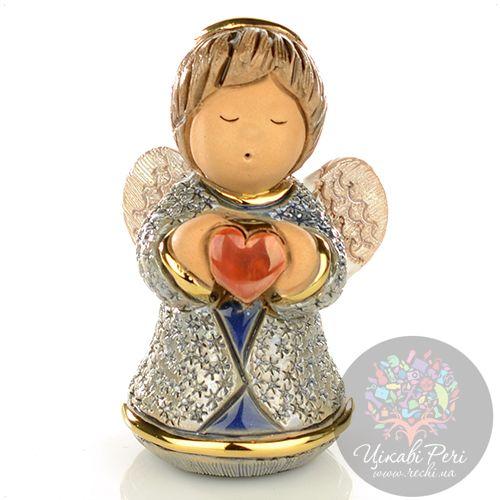 Фигурка De Rosa Rinconada Angels Ангелочек с сердцем синий, фото