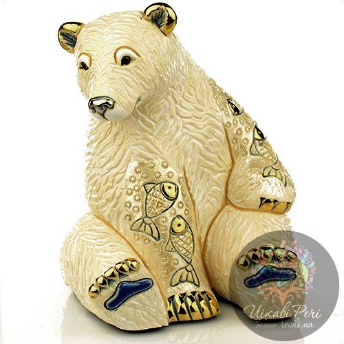 Фигурка De Rosa Rinconada Emerald  Медведь Белый с рыбой, фото