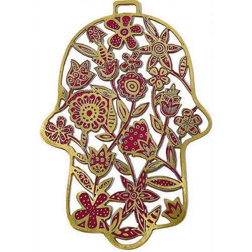 Хамса-оберег Emanuel с цветами металлическая красно-золотистая с ручной росписью, фото