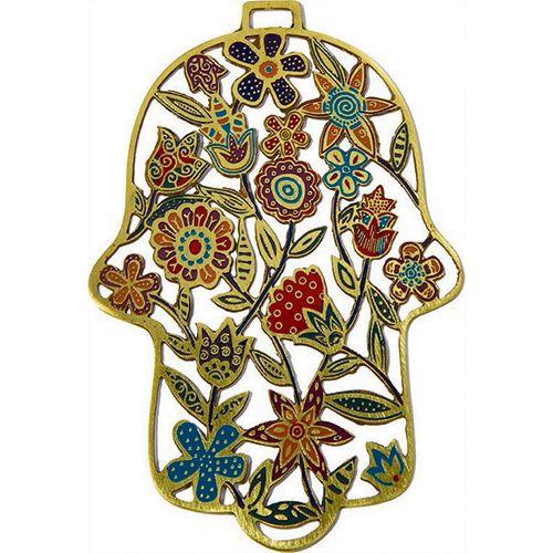 Хамса-оберег Emanuel с цветами металлическая золотистая с ручной разноцветной росписью, фото