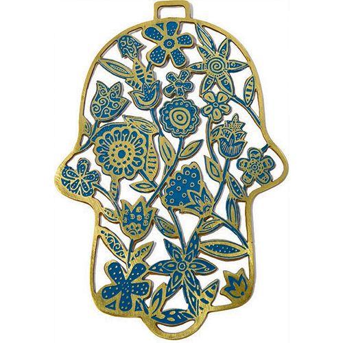 Хамса-оберег Emanuel с цветами металлическая золотисто-голубая с ручной росписью, фото