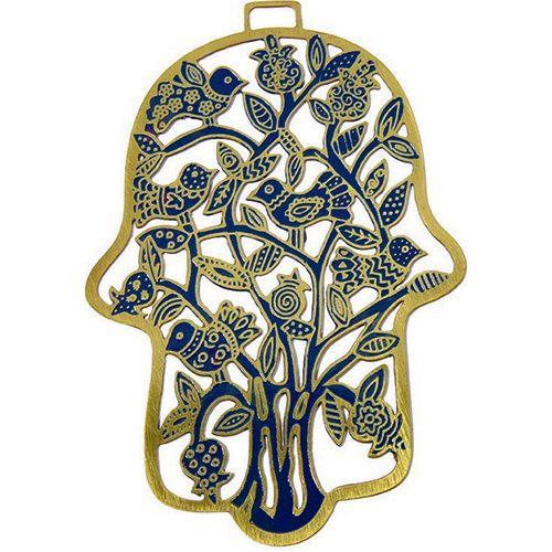Хамса-оберег Emanuel с деревом и птицами металлическая сине-золотистая с ручной росписью, фото