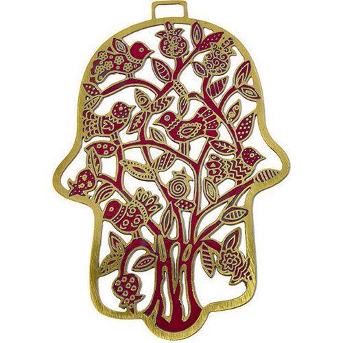 Хамса-оберег Emanuel с деревом и птицами металлическая красно-золотистая с ручной росписью, фото