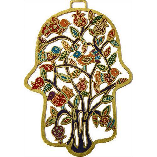 Хамса-оберег Emanuel с деревом и птицами металлическая золотистая с ручной цветной росписью, фото