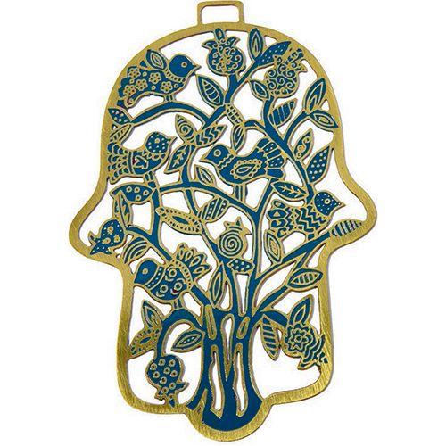 Хамса-оберег Emanuel с деревом и птицами металлическая золотистая с ручной росписью голубого цвета, фото
