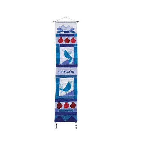 Украшение Emanuel на стену ручной работы голубое с изображением гранатов и птиц, фото