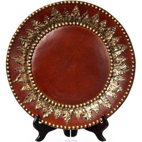 Декоративная тарелка Eterna с имитацией красного дерева и бронзовой чеканки, фото