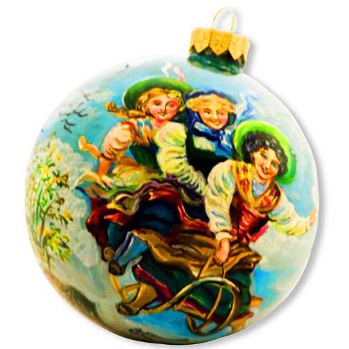 Елочный шар FaVareli Зимнее настроение с ручной росписью, фото