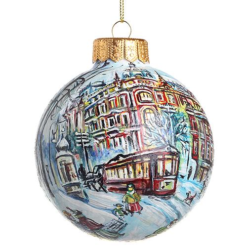 Елочный шар FaVareli Доходный дом с ручной росписью, фото