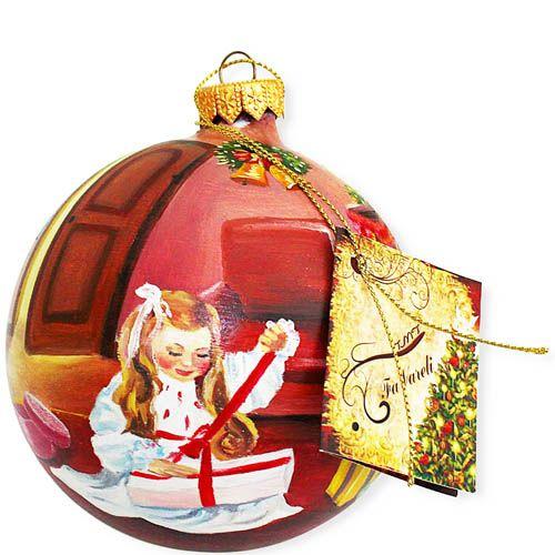 Елочный шар FaVareli Подарочное настроение с ручной росписью, фото