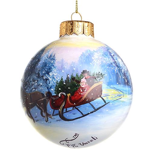 Елочный шар FaVareli Новогодние минутки с ручной росписью, фото